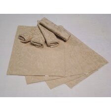 <strong>Textiles Plus Inc.</strong> Placemat and Napkin with Scroll Leaf Pattern (Set of 4)