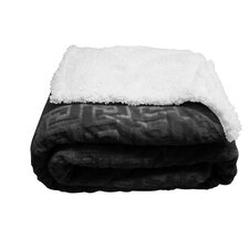 Mink Greek Key Textured Sherpa Polyester Throw