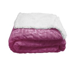Mink Greek Key Textured Sherpa Throw