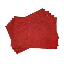 Lined Jacquard Leaf Placemat (Set of 6)