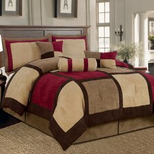 <strong>Textiles Plus Inc.</strong> Microsuede Patchwork Bed in a Bag 7 Piece Comforter Set