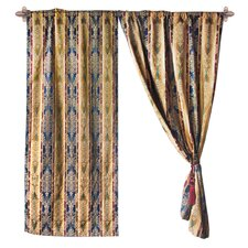 <strong>Textiles Plus Inc.</strong> Jacquard Fleur-De-Lis Cotton Rod Pocket Curtain Panel (Set of 2)