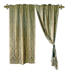 Jacquard Fleur-De-Lis Cotton Rod Pocket Sheer Curtain Panel Pair