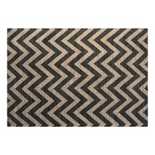 Jute/Cotton Printed Grey Chevron Rug