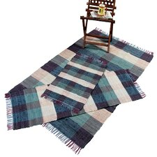 Check Chindi Blue 3 Piece Accent Rug Set