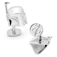 Star Wars Palladium 3-D Boba Fett Helmet Cufflinks