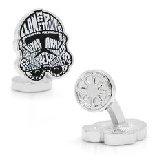 Star Wars Rhodium Plated Clone Trooper Typography Cufflinks