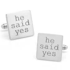 "Wedding Series Silver Plated ""He Said Yes"" Cufflinks"