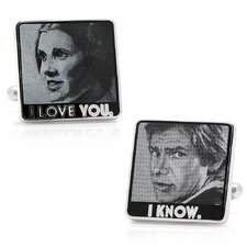 "Star Wars Rhodium Plated ""I Love You, I Know"" Cufflinks"