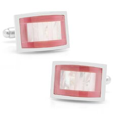 Silver Plated Catseye and Mother of Pearl Key Cufflinks