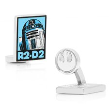 Star Wars Rhodium Plated R2D2 Pop Art Cufflinks