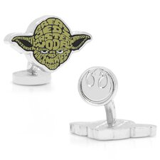 Star Wars Rhodium Plated Yoda Typography Cufflinks