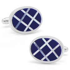 Silver Plated Lapis and Mother of Pearl Diagonal Grid Cufflinks