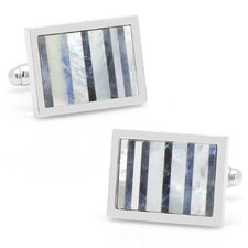 Silver Plated Lapis and Mother of Pearl Striped Cufflinks