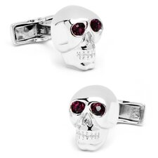 Sterling Silver Gemstone Skull Cufflinks