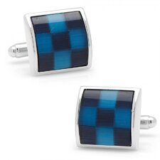 Silver Plated Fiber Optic Checker Board Cufflinks