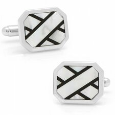 Silver Plated Onyx and Mother of Pearl Ribbon Cufflinks