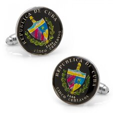 Silver Plated 5 Centavos Cuban Coin Cufflinks