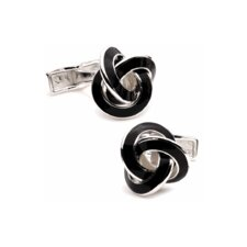Enamel Knot Cufflinks in Black
