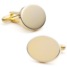 314K Plated Oval Engravable Cufflinks
