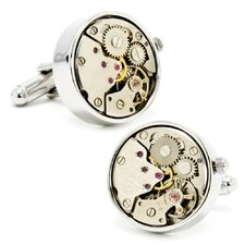 "0.79"" Silver Watch Movement Cufflinks"