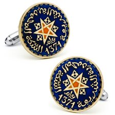 <strong>Penny Black 40</strong> Hand Painted Morrocan Coin Cufflinks