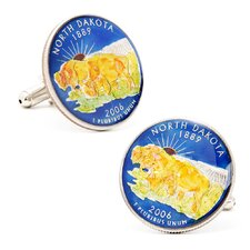 Hand Painted North Dakota State Quarter Cufflinks
