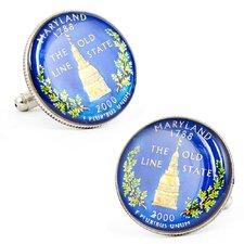Hand Painted Maryland State Quarter Cufflinks