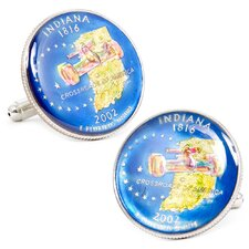 Hand Painted Indiana State Quarter Cufflinks