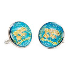 Hand Painted Nevada State Quarter Cufflinks