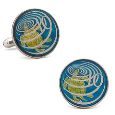 Hand Painted Caymen Island Ten Cent Coin Cufflinks