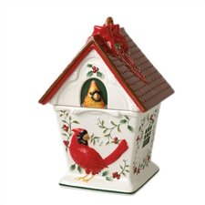 Winterberry Cardinal Birdhouse Cookie Jar