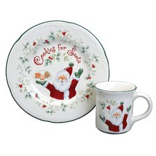 Winterberry Cookies and Milk for Santa 2 Piece Place Setting