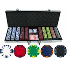 <strong>JP Commerce</strong> 500 Piece Z Striped Clay Poker Chip Set