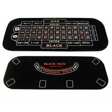 <strong>JP Commerce</strong> 3 in 1 Poker Blackjack and Roulette Folding Table Top with Cup Holders