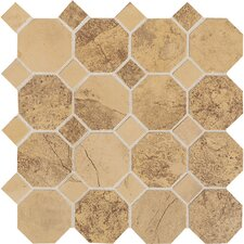 Aspen Lodge Octagon Dot Ceramic Unpolished Mosaic Field Tile in Golden Ridge