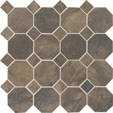 "<strong>Daltile</strong> Aspen Lodge 12"" x 12"" Octagon Dot Mosaic Field Tile in Midnight Blaze"