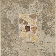 "Castle De Verre 12-13/16"" x 9-13/16"" Decorative Accent Tile in Grey Stone"