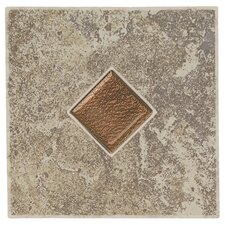 "Castle De Verre 6-7/16"" x 6-7/16"" Decorative Accent Tile in Grey Stone"