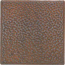 "Castle Metals 4-1/4"" x 4-1/4"" Hammered Decorative Wall Tile in Wrought Iron"