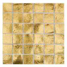"Elemental Glass 3/4"" x 3/4"" Mosaic Tile in Gold Nugget"