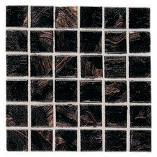 "Elemental Glass 12"" x 12"" Mosaic Tile in Obsidian"