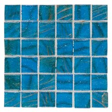 "Elemental Glass 12"" x 12"" Mosaic Tile in Sardinian Blue"