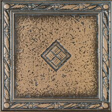 "Metal Signatures Diamond Weave 4"" x 4"" Floor Border Corner Tile in Aged Bronze"