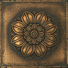 "Metal Signatures Rosette Pointed 6"" x 6"" Decorative Tile in Aged Bronze"