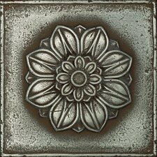 "Metal Signatures Rosette Rounded 4-1/4"" x 4-1/4"" Decorative Tile in Aged Iron"