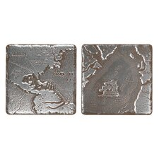 "Metal Signatures Map Tumbled Stone 4"" x 4"" Decorative Tile in Aged Iron (Set of 2)"