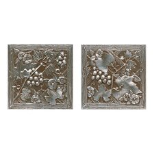 "<strong>Daltile</strong> Metal Signatures Trellis 4-1/4"" x 4-1/4"" Decorative Tile in Aged Iron (Set of 2)"
