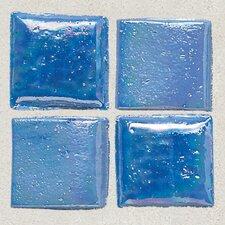 "Sonterra 1"" x 1"" Glass Semi-Gloss Iridescent Mosaic Tile in Medium Blue"