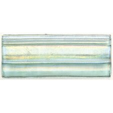 "Cristallo Glass 8"" x 3"" Decorative Chair Rail Tile Trim in Aquamarine"